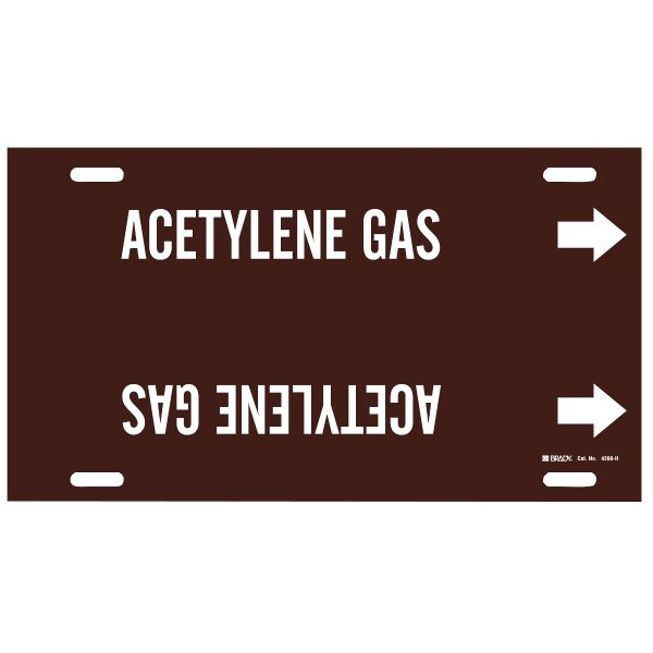 Brady 4288-H White on Brown Acetylene Gas Strap-On Pipe Markers - Acetylene Gas