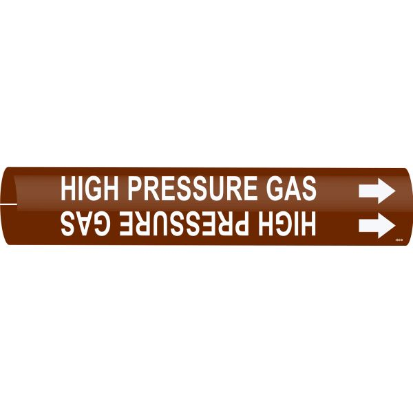 Brady 4330-D White on Brown High Pressure Gas Pipe Markers