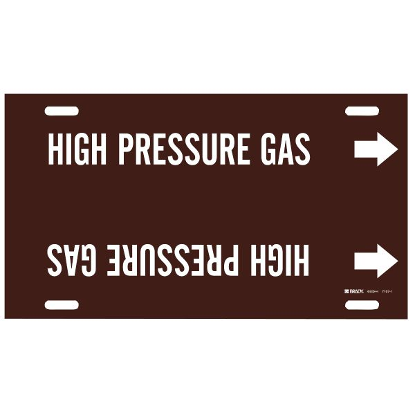 Brady 4330-H White on Brown High Pressure Gas Pipe Markers