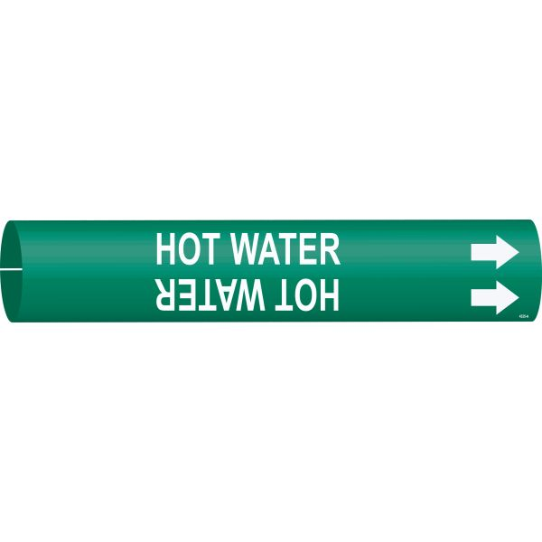Brady 4335-A White on Green Hot Water Pipe Markers