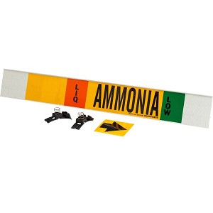 Brady 59942 Black, white, orange, green on Yellow AMMONIA Signs Pipe Markers