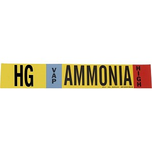 Brady 90404 Black, white, sky blue, red on Yellow AMMONIA Signs Pipe Markers