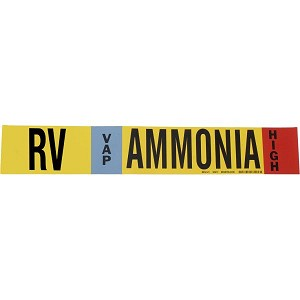Brady 90417 Black, white, sky blue, red on Yellow AMMONIA Signs Pipe Markers