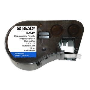 Brady M-61-483 2 inches  x 0.5 inches White BMP41 BMP51 BMP53 Label Cartridges - 80/roll  - Agressive Adhesive